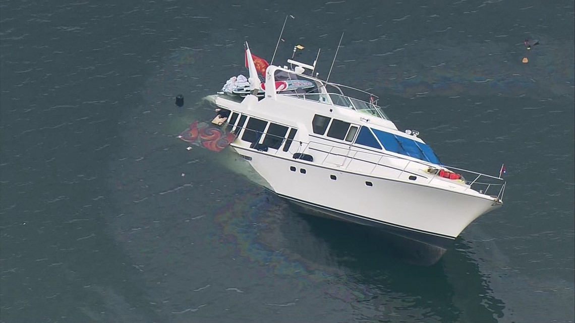 Freeway Auto Center >> Salvage crews work to pull sinking yacht from Hood Canal ...