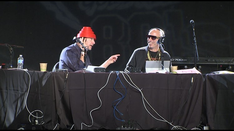 BJ (in the Devo Hat) & Migs of KISW's Morning Show on Live Day