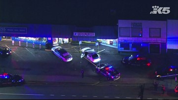 Raw aerials of officer-involved shooting scene in Seattle's Licton Springs neighborhood