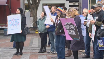 Seattle rally pushes back against President Trump's transgender military ban