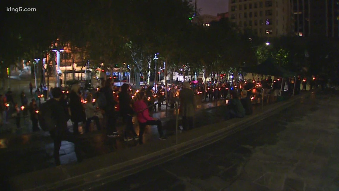 Dozens gather for vigil in Seattle honoring the late Justice Ruth Bader Ginsburg