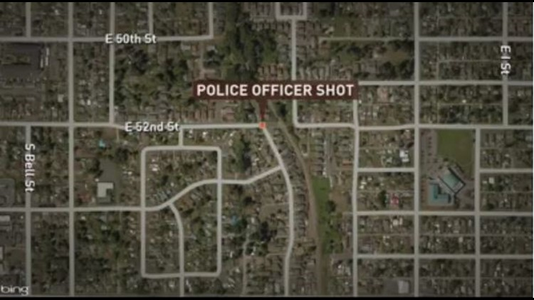 A Tacoma officer was shot near East E Street and E. 52nd Street in Tacoma's Eastside neighborhood.