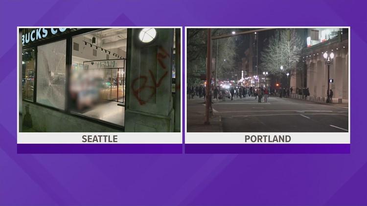 13 arrested for property damage, assault after destructive march in Seattle