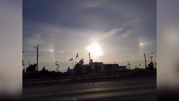 Lights surrounding the sun called a 'Sun Dog'
