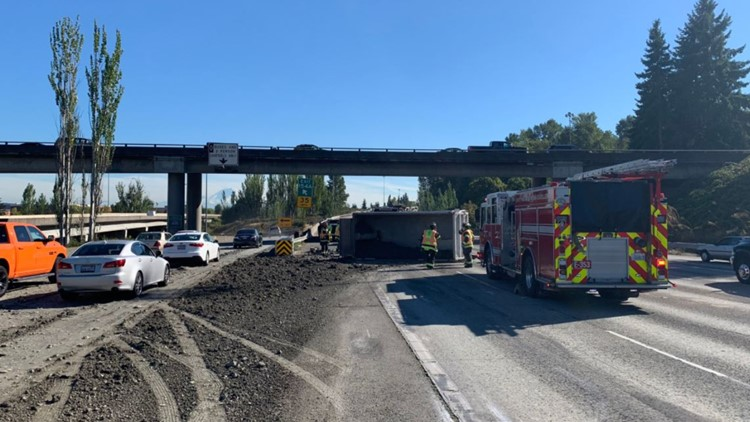 Dump truck rollover on I-5 in Tukwila causes delays for Tuesday evening commute