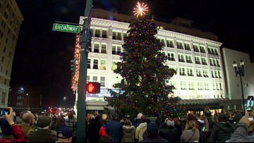 Holiday tree lighting in downtown Tacoma