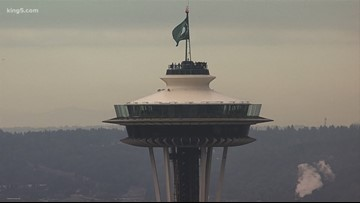 Seattle Storm flag raised at the Space Needle