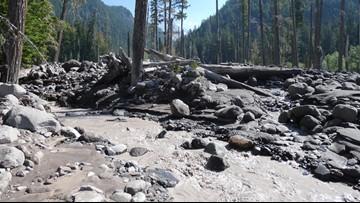 Debris flow carrying mud, rocks closes Mount Rainier park road