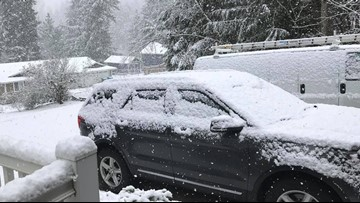 Snow sticking in parts of South Sound Sunday