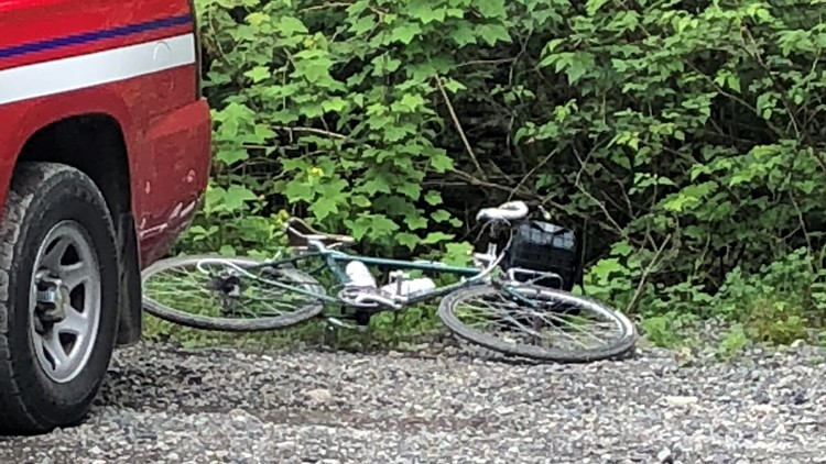 One of the bicycles in the fatal cougar attack near North Bend. (Photo: KING / submitted by viewer)