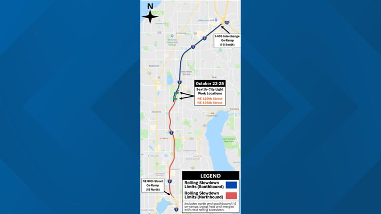I-5 rolling slowdowns oct. 22 to oct. 25