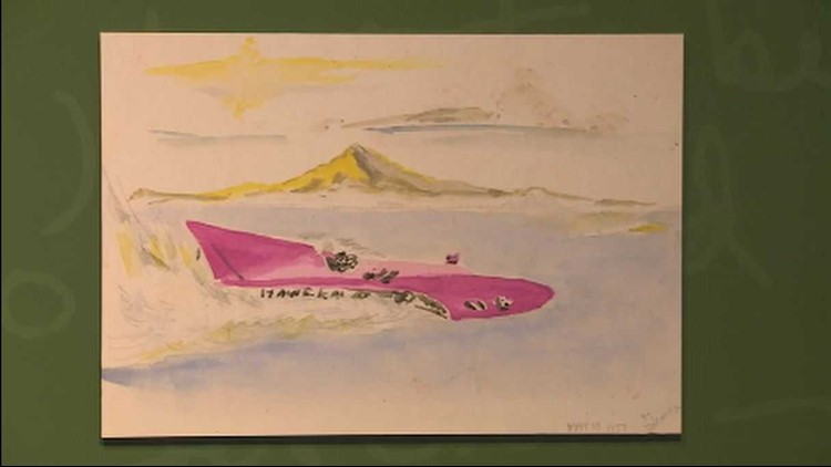 Painting of a hydroplane by Jimi Hendrix