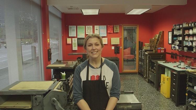 Amy Douglas in her letterpress studio.
