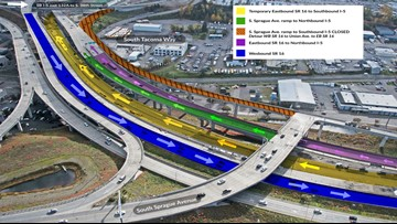Multiple closures, lane reductions will impact I-5 traffic in Tacoma this weekend