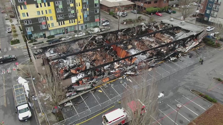 Raw: Drone footage of businesses destroyed in Lake City fire