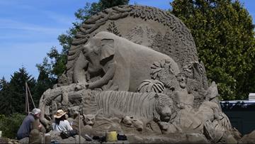 International sand sculptor Sue McGrew brings awareness to endangered animals