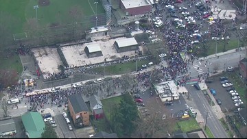 Aerial views of Martin Luther King Jr. march in Seattle