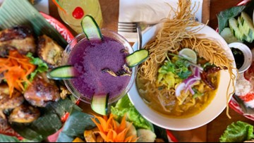 The atmosphere of this eye-catching Belltown restaurant is as colorful as its food!