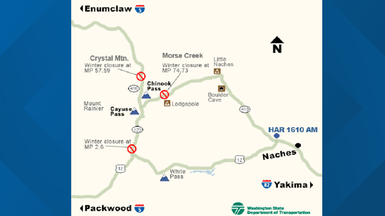 Chinook and Cayuse Passes map