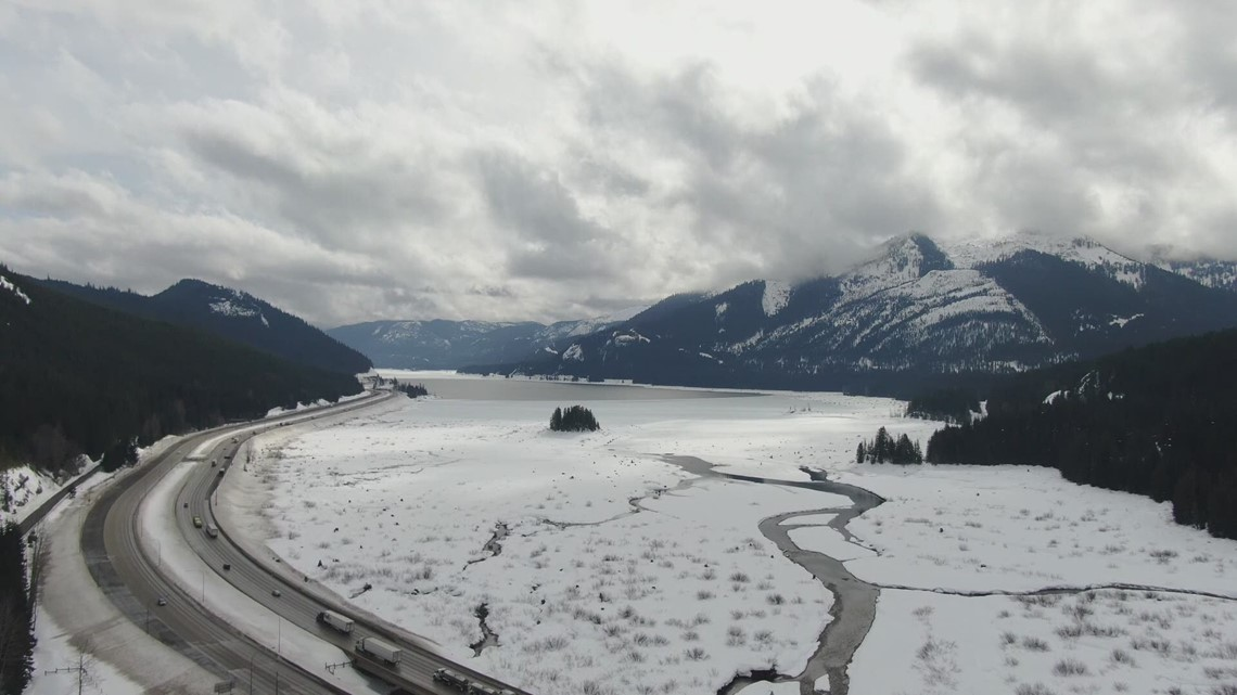 WATCH: Drone footage of snow near Snoqualmie Pass