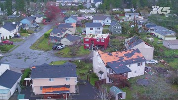Drone footage shows devastation from Port Orchard tornado