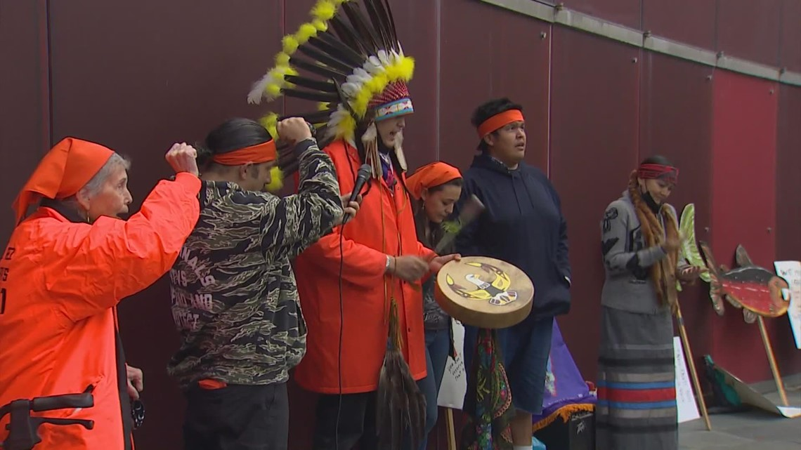 Tribes protest Seattle City Light's Skagit River dam project on Indigenous Peoples Day