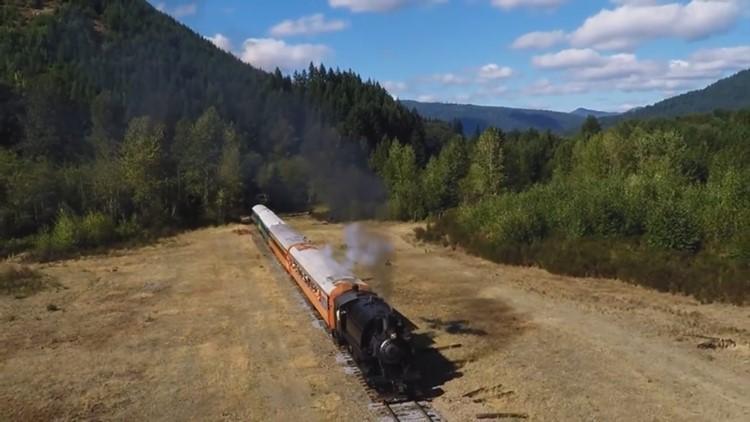 Mt Rainier Scenic Railroad aerial by Brian Bundridge