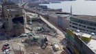 Drone footage captures birds-eye view of viaduct demolition