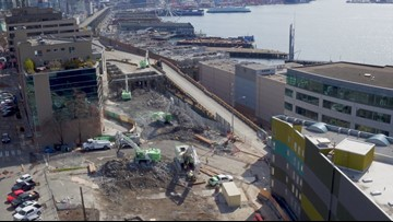 Drone footage captures birds-eye view of viaduct demolition