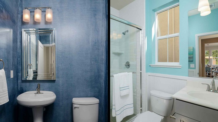 P A Bathroom Painted Blue Particularly Powder Or Light Periwinkle Helped