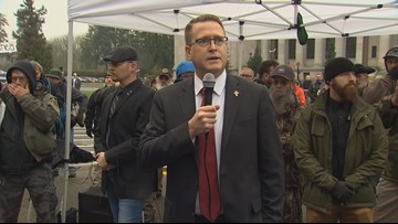 'Never back down': Embattled lawmaker Rep. Matt Shea speaks at Olympia gun rally