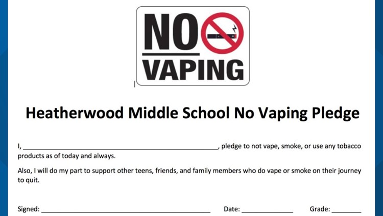 "Heatherwood Middle School ""no vape"" pledge"