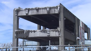 Another section of the Seattle viaduct comes down