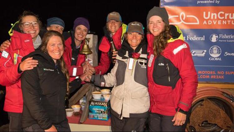 Team Sail Like a Girl, an eight-woman crew from Bainbridge Island, won the annual Race to Alaska in six days, 13 hours. (Photo: Katrina Zoe Norborn / Race to Alaska)