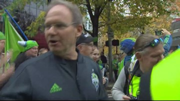 Crowd chants for Sounders Head Coach Brian Schmetzer