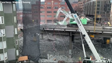 Timelapse: Viaduct demolition on March 8, 2019