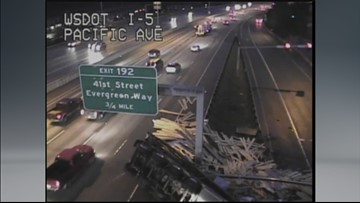 Semi-truck loses lumber load in wreck on I-5 in Everett