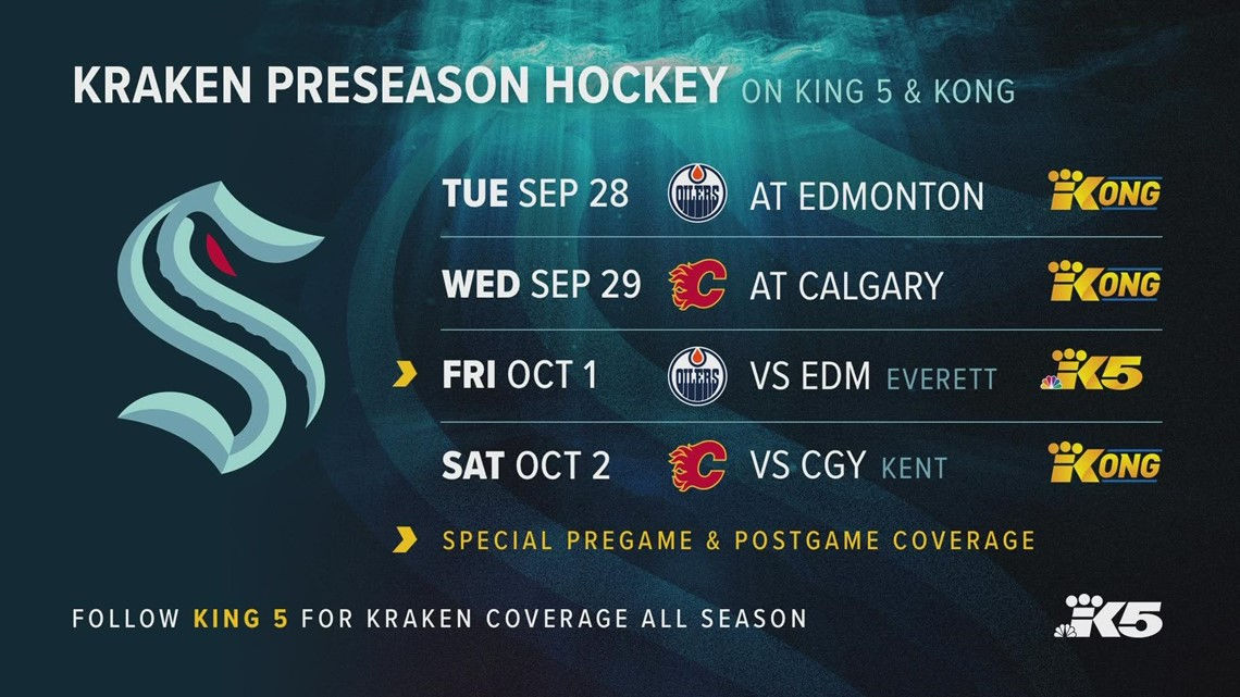 KING 5 and KONG to live broadcast four preseason Seattle Kraken games in September and October