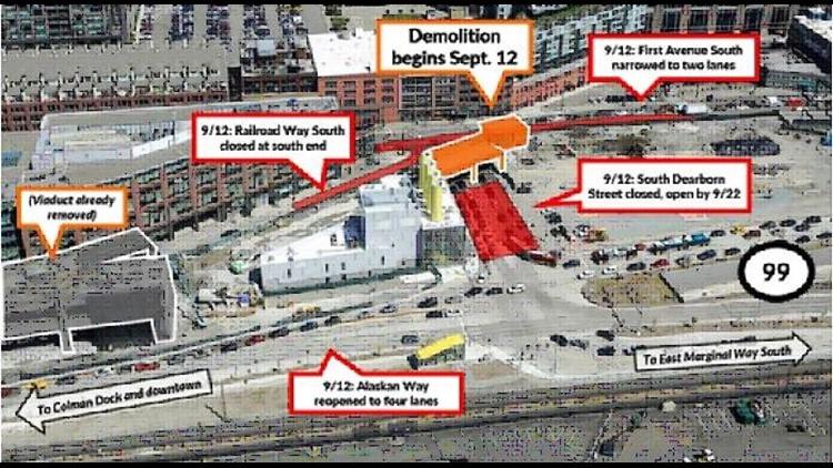 Viaduct demolition South Dearborn Street