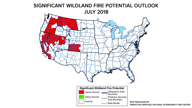 Spokane Wildfire Map.July Wildfire Outlook Shows Above Normal Risk King5 Com