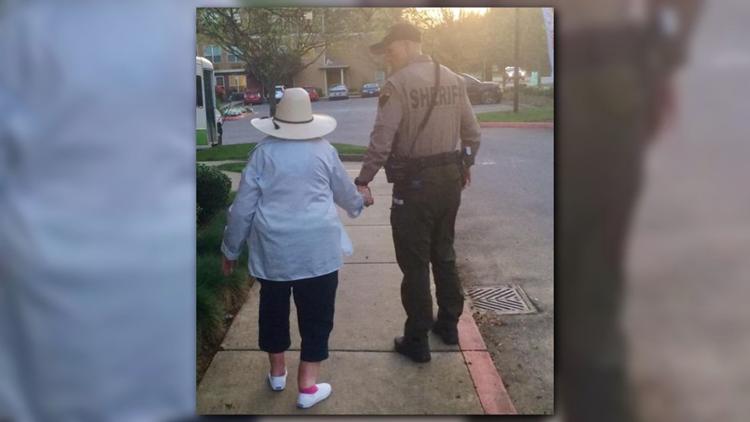 Tender moment captured between Kitsap County deputy, 100