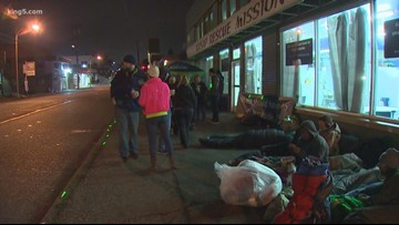 Volunteers sleep on the streets of Bremerton in solidarity with homeless