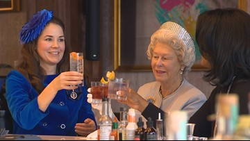 Royal impersonators toast Harry and Meghan at cocktail hour