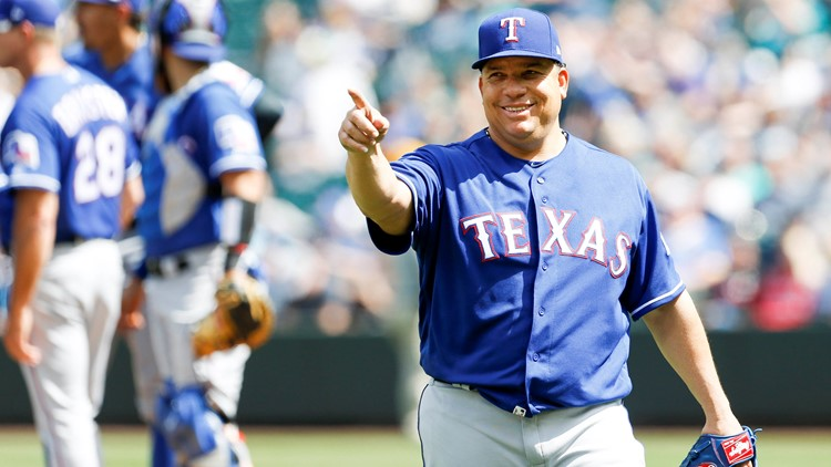 Bartolo Colon laughed off having a line drive hit him in the stomach, allowing four hits in 7 2/3 shutout innings and giving the Texas Rangers a 5-1 win over the Seattle Mariners on Wednesday.