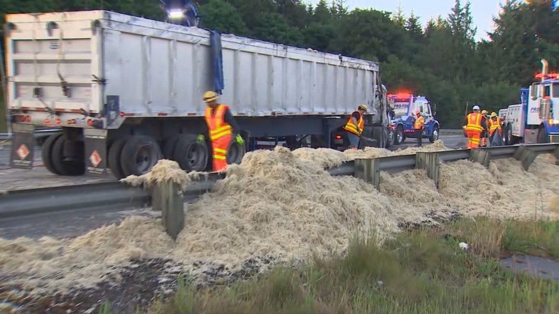 Chicken Feathers Clog I 5 When Truck Driver Falls Asleep In Federal