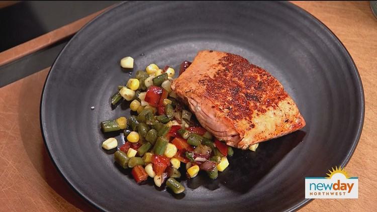Rub with Love Bristol Bay Sockeye Salmon with Charred Corn Succotash / Tom Douglas