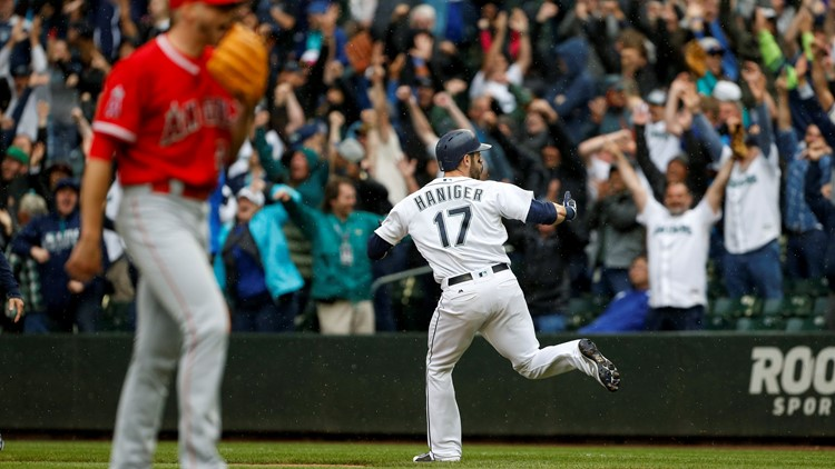 Mitch Haniger hit a two-run home run in the bottom of the ninth inning to give the Seattle Mariners an 8-6 victory and sweep of the three-game series over the Los Angeles Angels on Wednesday.