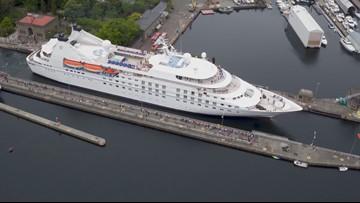 DRONE: Watch largest ship to ever cruise through Ballard Locks