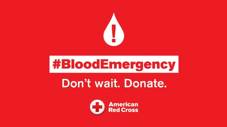 The Red Cross says there is an emergency shortage of blood after a lag in donations during the 4th of July holiday week.