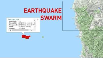 Earthquake swarm strikes off West Coast